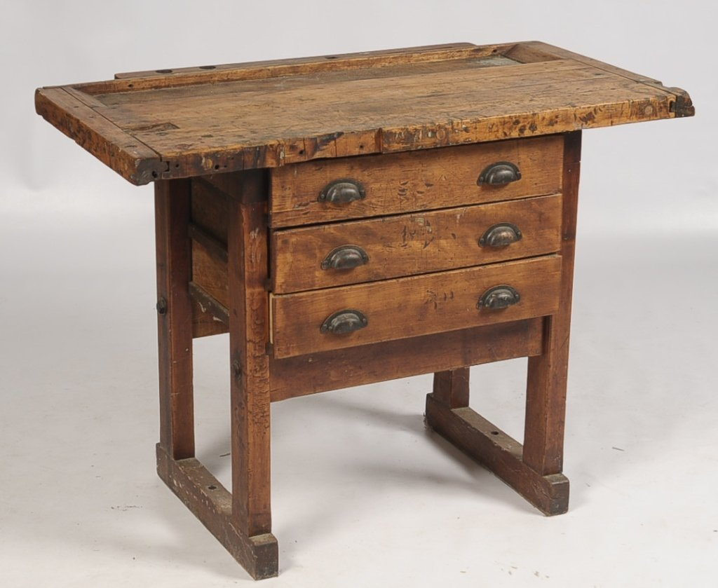 ANTIQUE WORK BENCH WITH BUTCHER BLOCK TOP
