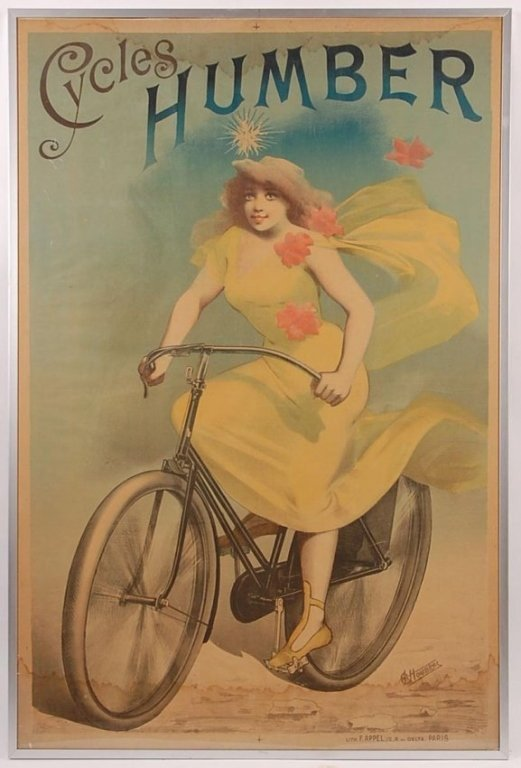HUMBER CYCLES FRENCH STONE LITHOGRAPH POSTER