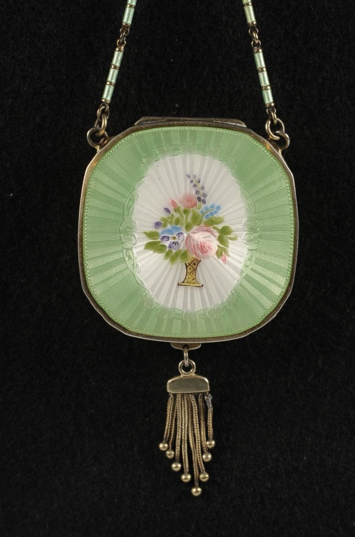 STERLING GUILLOCHE COMPACT W ENAMELED CHAIN & RING