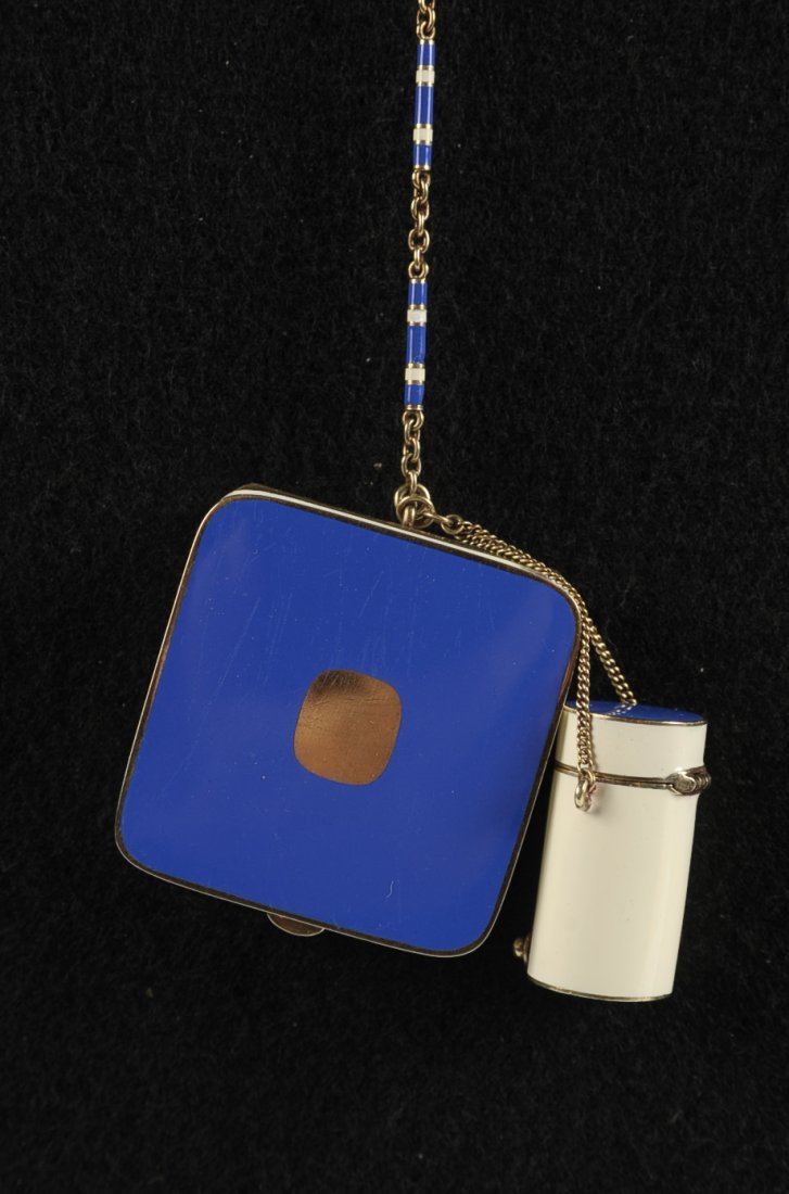 14K GOLD ENAMEL COMPACT W ENAMEL CHAIN & FINGER RING