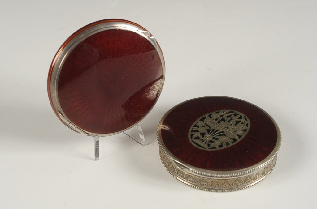 STERLING & RED GUILLOCHE ENAMEL COMPACT & ANOTHER