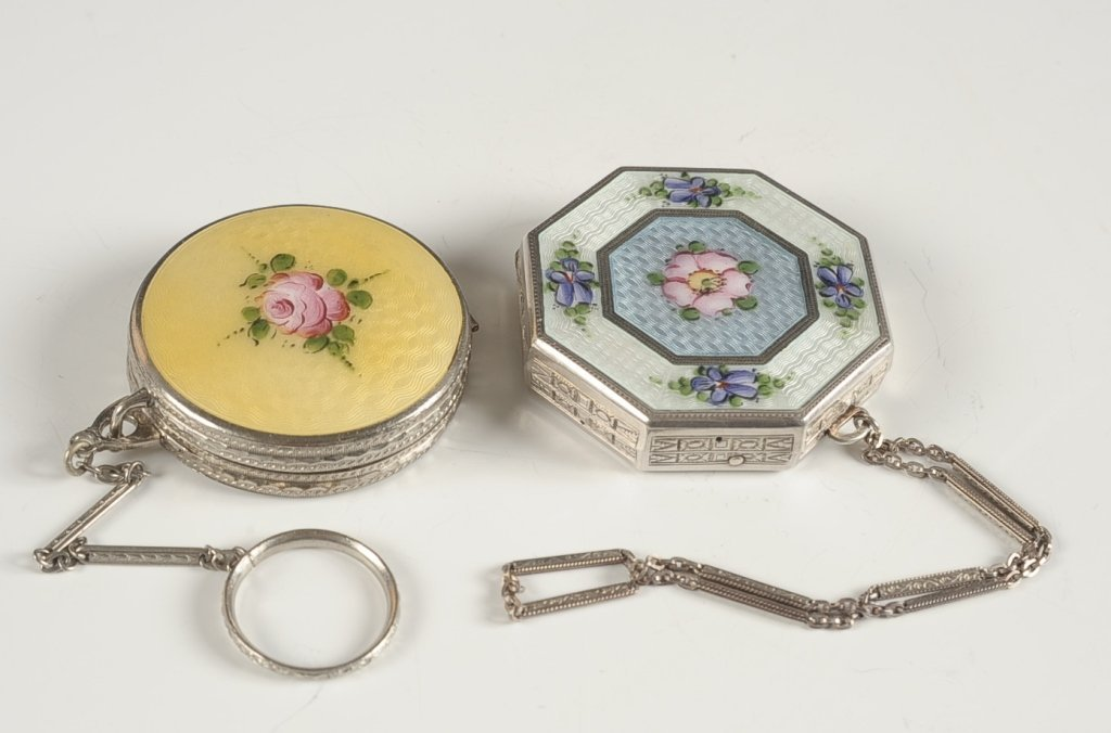 TWO GUILLOCHE COMPACTS WITH HAND PAINTED FLORALS