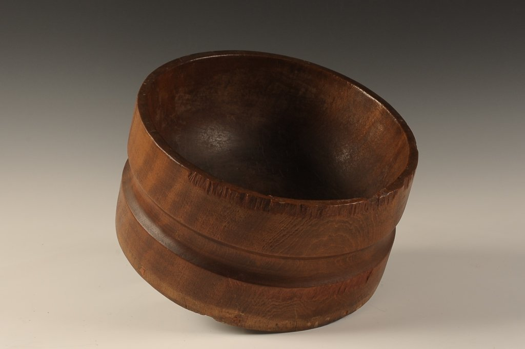 NEW ENGLAND BURL WOOD BOWL DATED 1896