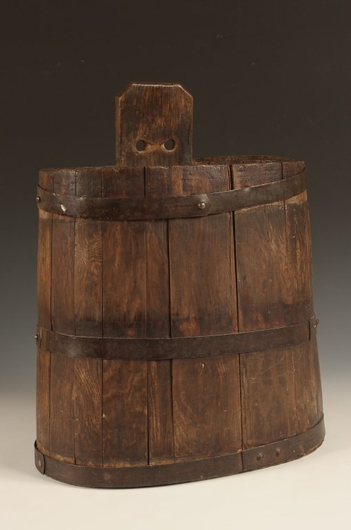 NEW ENGLAND WOOD STAVE VINEGAR BUCKET WITH IRON BANDS
