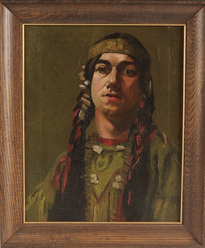 CIRCA 1900 OIL ON CANVAS NATIVE AMERICAN
