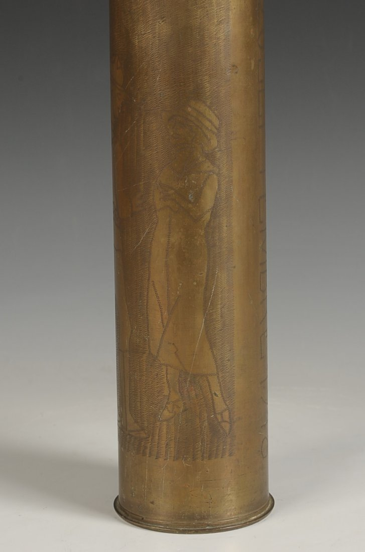 WWI TRENCH ART SHELL CASING, 26 SEPT. 1918 - 10