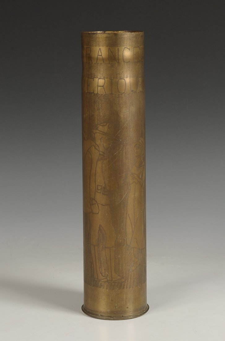 WWI TRENCH ART SHELL CASING, 26 SEPT. 1918