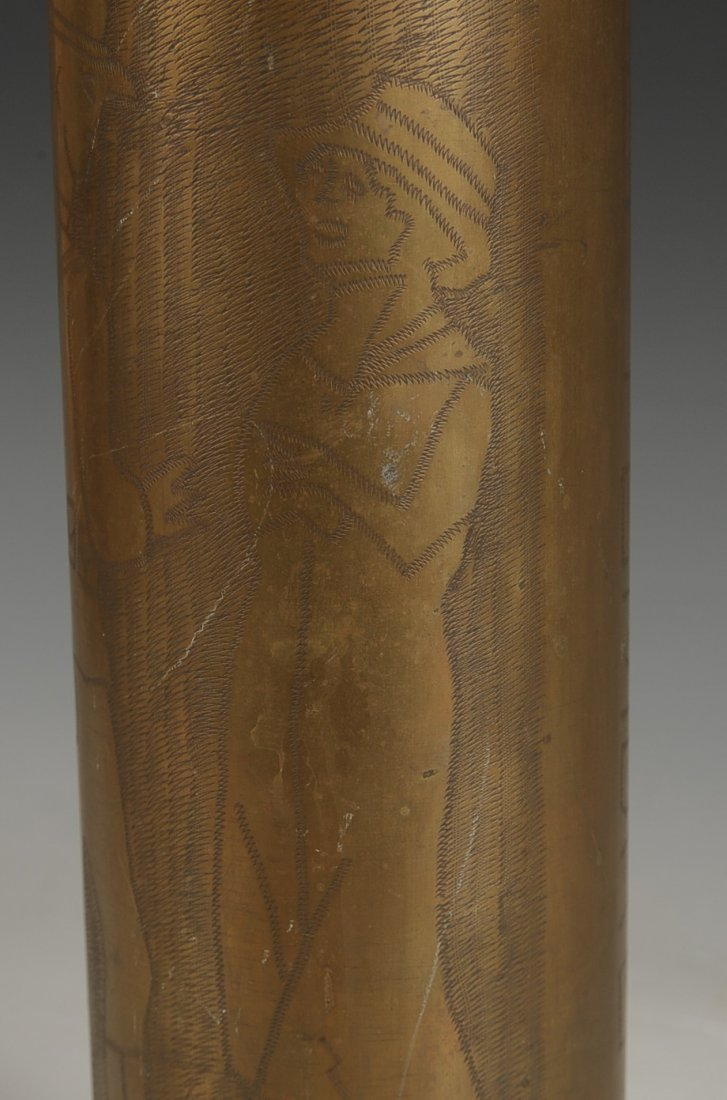 WWI TRENCH ART SHELL CASING, 26 SEPT. 1918 - 4