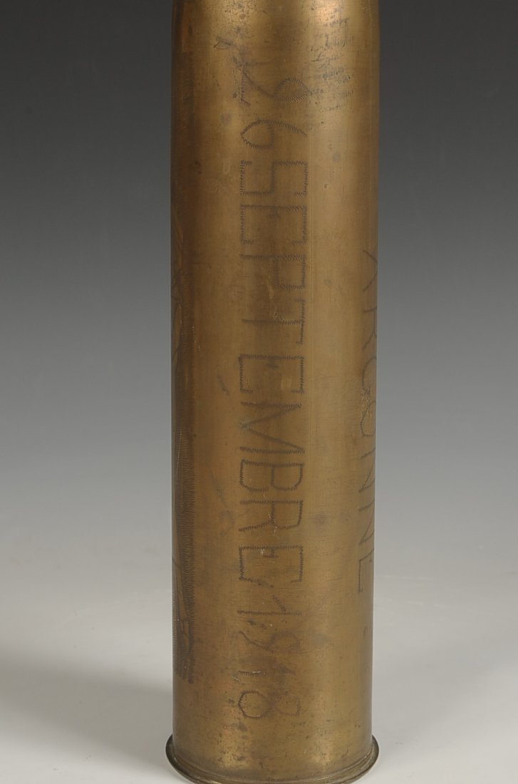 WWI TRENCH ART SHELL CASING, 26 SEPT. 1918 - 5