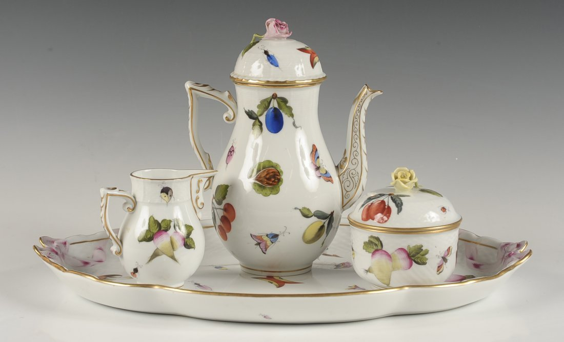 HEREND 'MARKET GARDEN' TEA SET ON TRAY