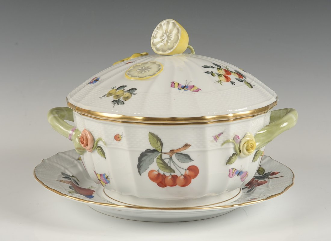 HEREND 'MARKET GARDEN' COVERED TUREEN WITH UNDERPLATE