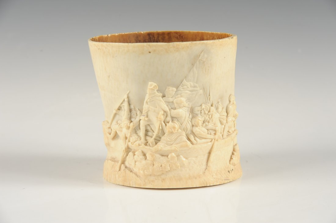 19TH C AMERICAN CARVED IVORY WITH HISTORICAL SUBJECTS - 3