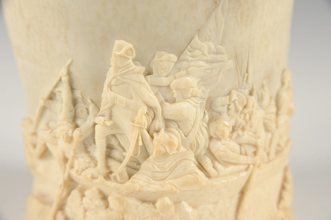 19TH C AMERICAN CARVED IVORY WITH HISTORICAL SUBJECTS - 7