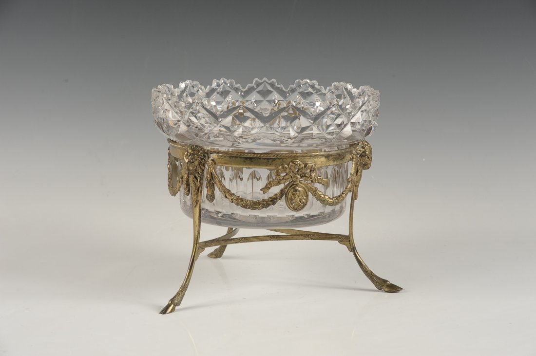 FINE CUT CRYSTAL BOWL IN BRONZE STAND - 2