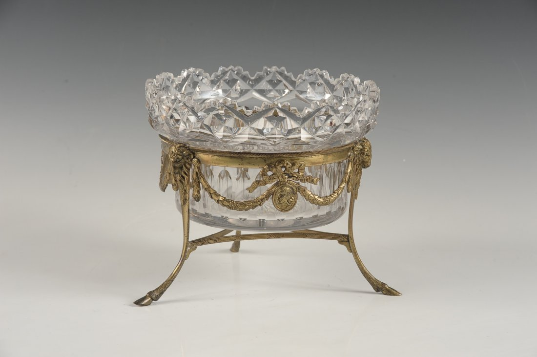 FINE CUT CRYSTAL BOWL IN BRONZE STAND - 3