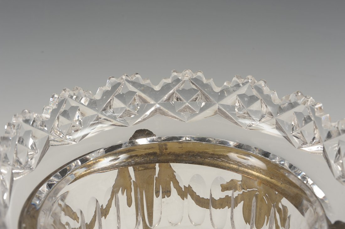 FINE CUT CRYSTAL BOWL IN BRONZE STAND - 4