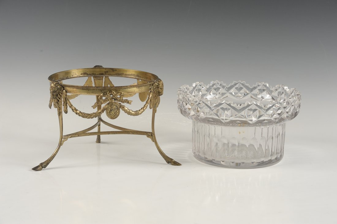 FINE CUT CRYSTAL BOWL IN BRONZE STAND - 5