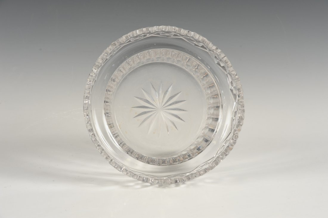 FINE CUT CRYSTAL BOWL IN BRONZE STAND - 6