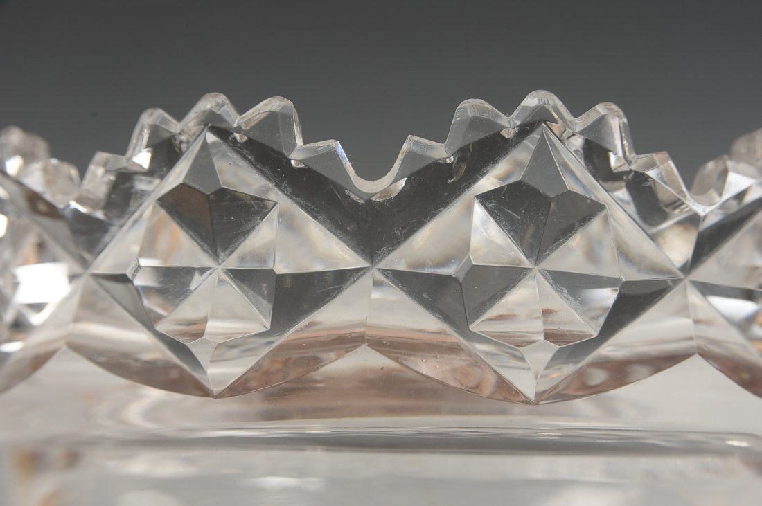 FINE CUT CRYSTAL BOWL IN BRONZE STAND - 7