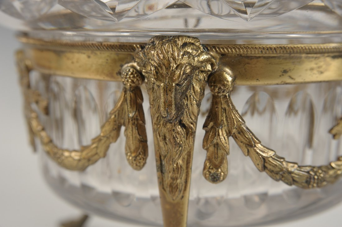 FINE CUT CRYSTAL BOWL IN BRONZE STAND - 9