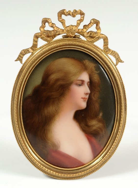 HAND PAINTED PORCELAIN PLAQUE SIGNED WAGNER