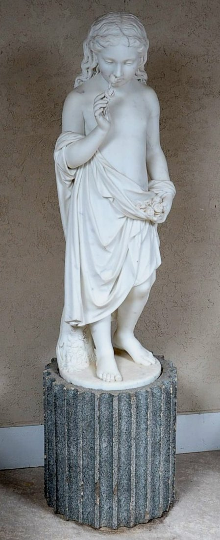 GIOVANNI FONTANA (1829-1893) MARBLE SCULPTURE 43 INCHES