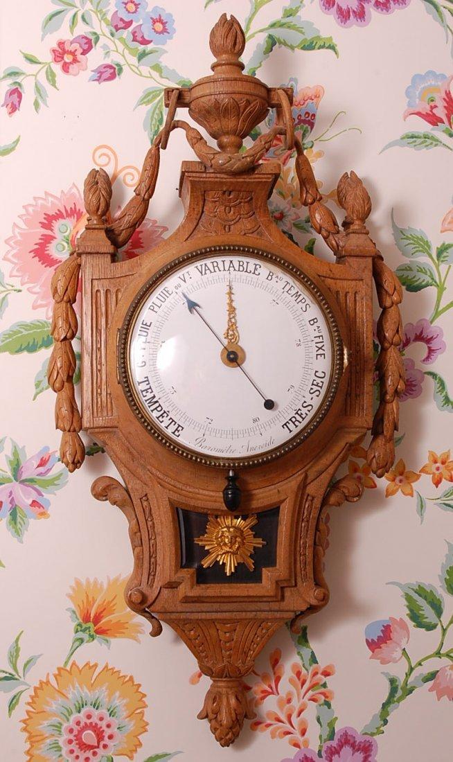 19C. FRENCH CARVED OAK CLOCK & BAROMETER, PERRIN PARIS