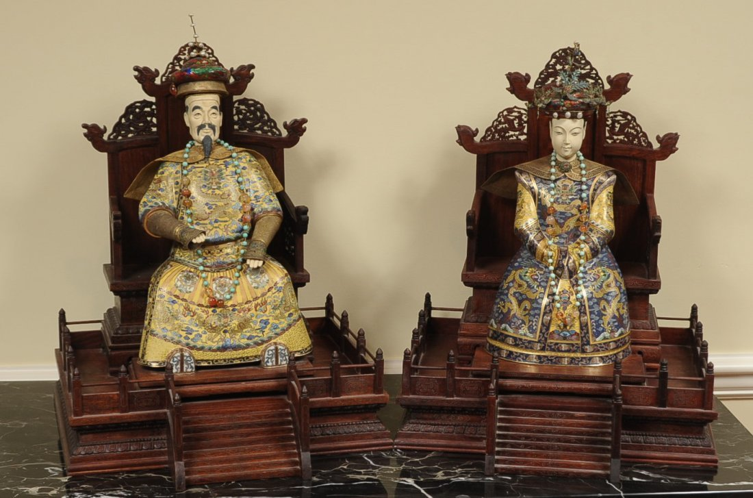 CHINESE EMPEROR AND EMPRESS FIGURES WITH CLOISONNE
