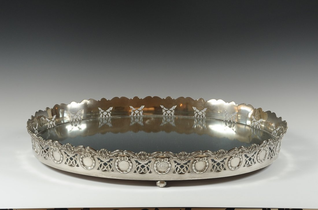 LARGE GORHAM STERLING FOOTED GALLERY TRAY WITH MIRROR