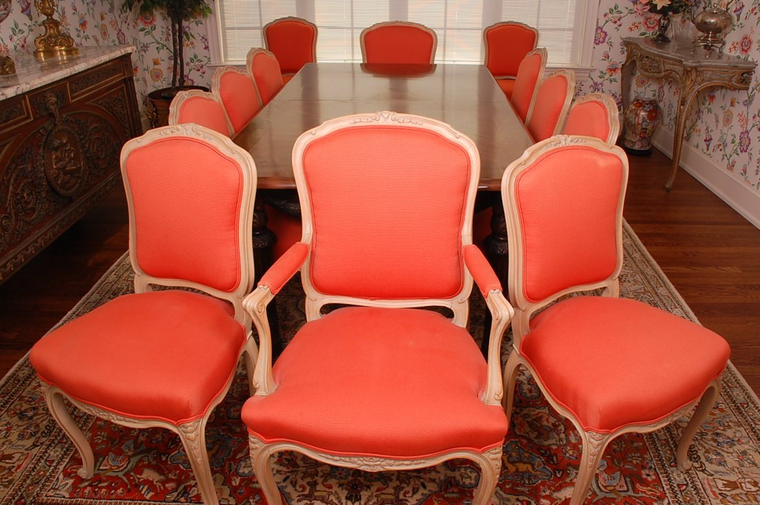 SET OF TWELVE FRENCH LOUIS XV STYLE DINING CHAIRS