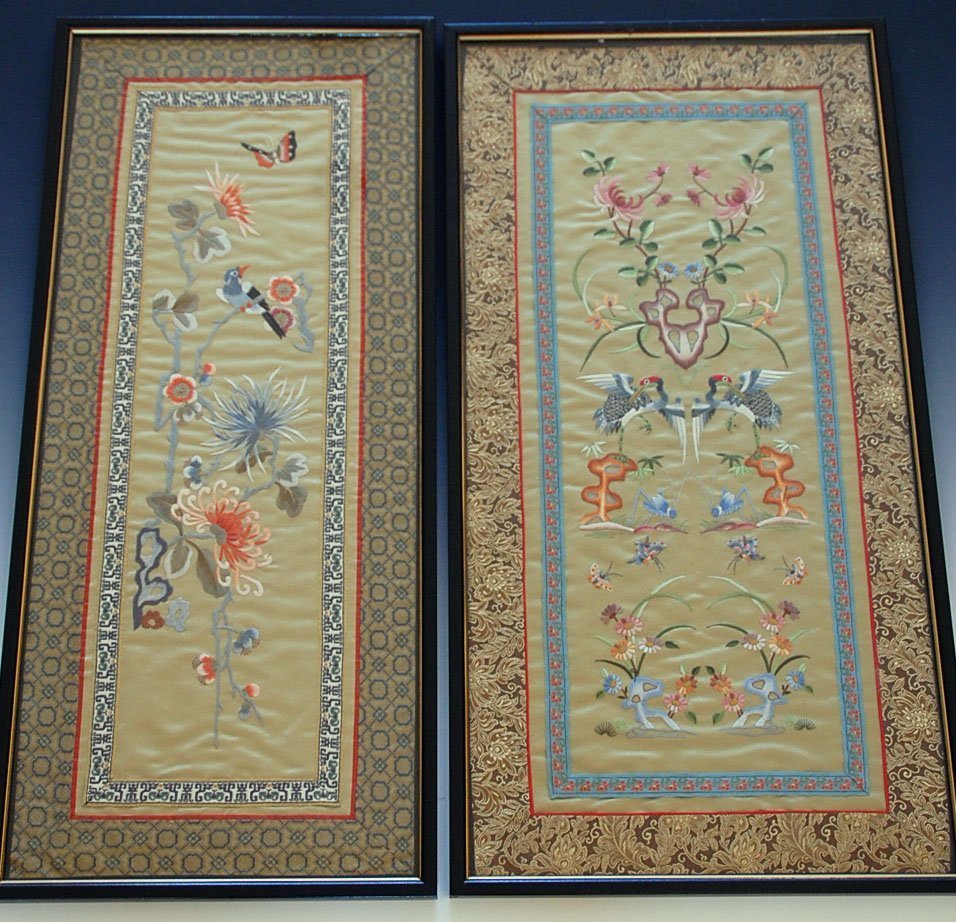 FOUR CHINESE EMBROIDERED PANELS