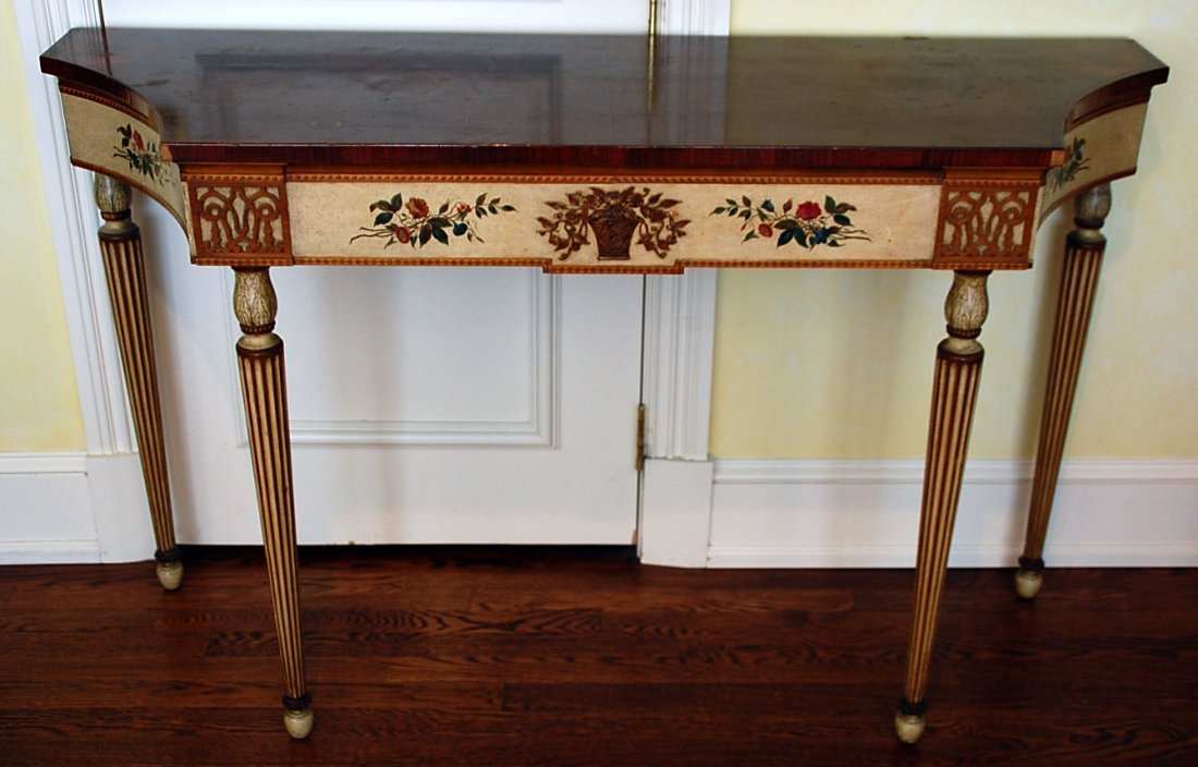 A 20TH CENTURY PAINTED CONSOLE TABLE