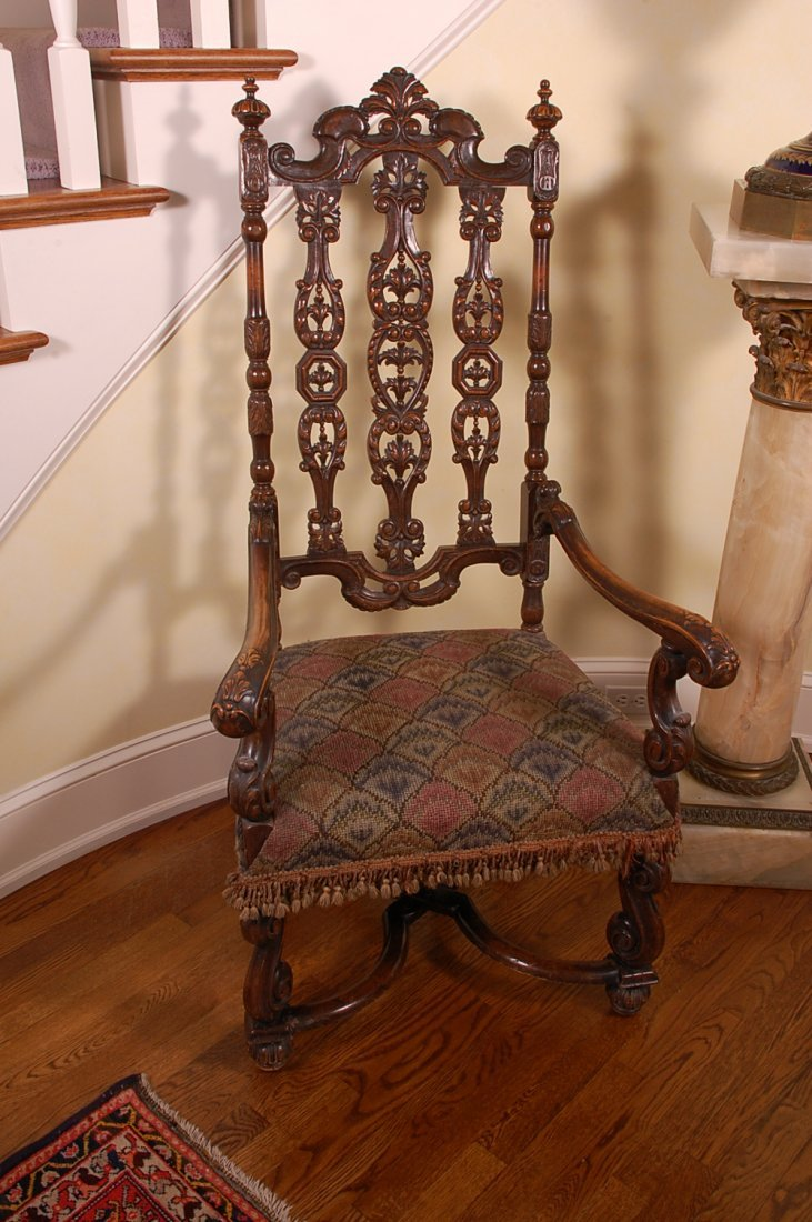JACOBEAN STYLE CARVED WALNUT HALL CHAIR WITH