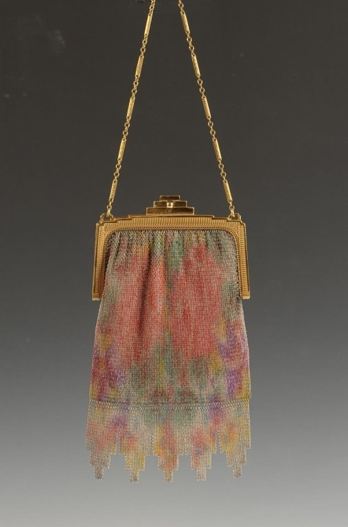 WHITING & DAVIS PAINTED DRESDEN MESH BAG