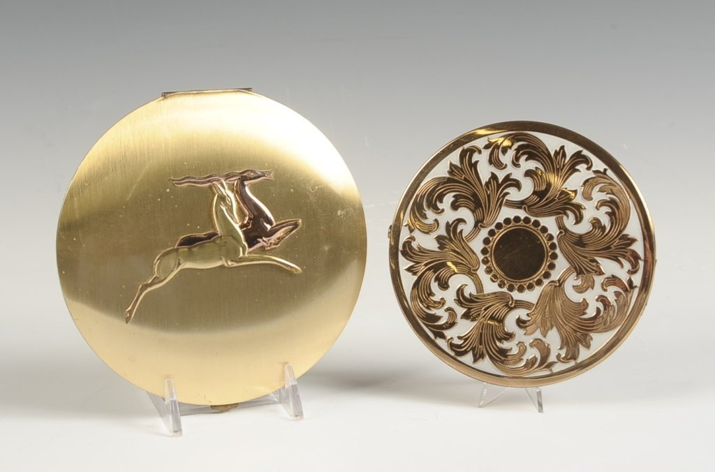 TWO LARGE GOLDTONE COMPACTS