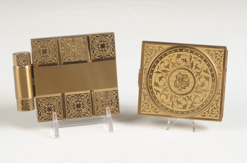TWO VINTAGE ETCHED GOLDTONE COMPACTS