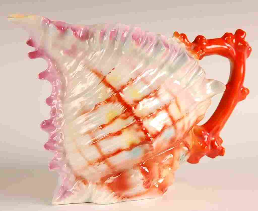 ROYAL BAYREUTH FIGURAL SPIKY SHELL WATER PITCHER