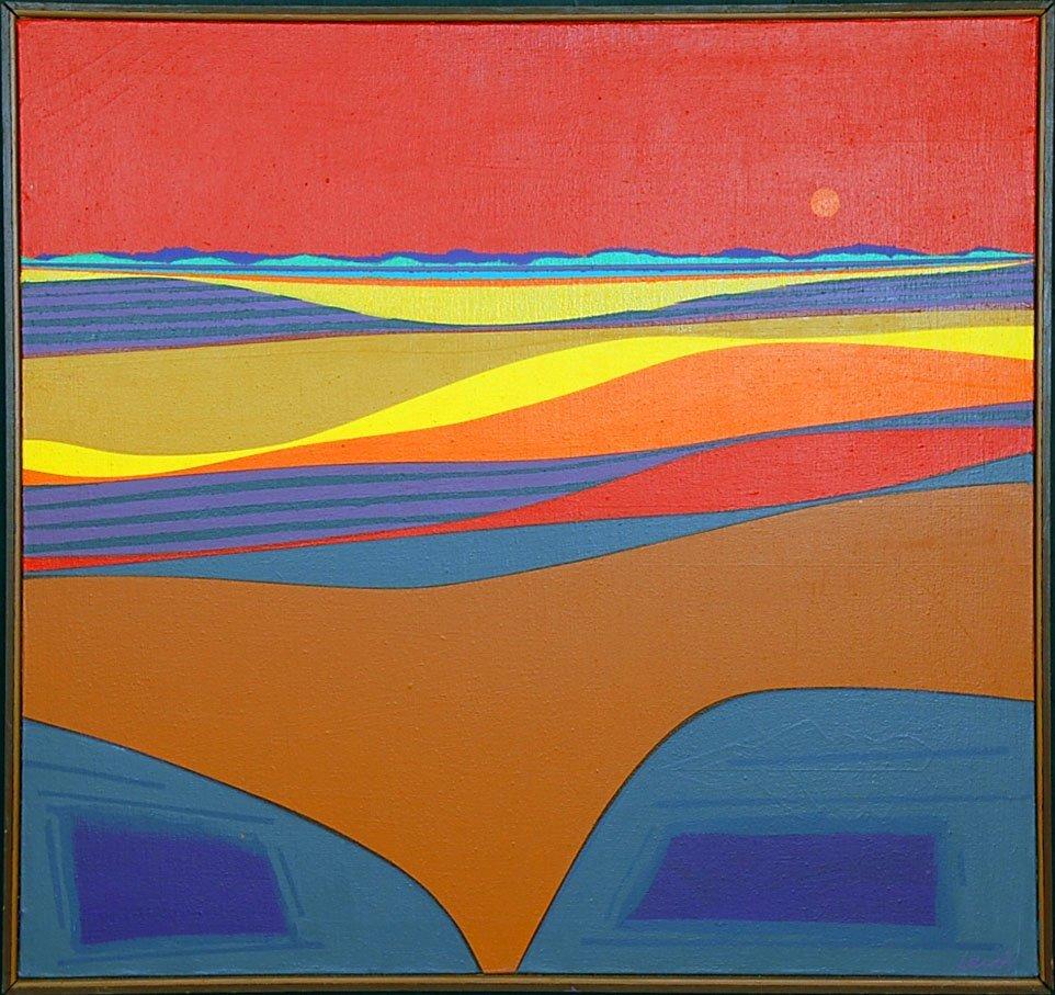 EDWARD LEWIS (1914 - 1992) ACRYLIC ON CANVAS