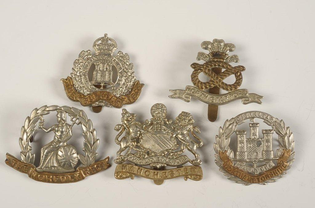 TWENTY BRITISH COUNTY REGIMENT CAP BADGES