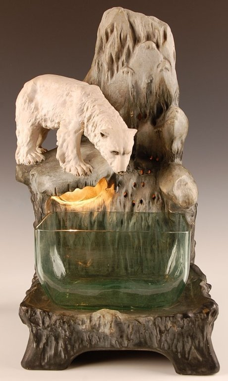 AUGUST OTTO FISH BOWL STAND WITH POLAR BEAR