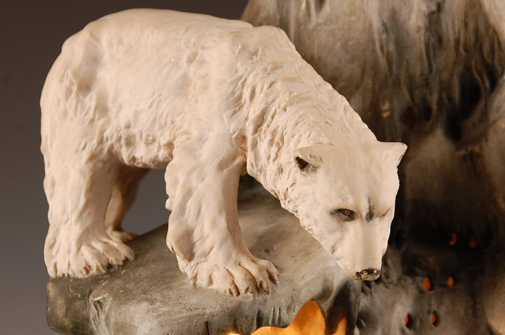 AUGUST OTTO FISH BOWL STAND WITH POLAR BEAR - 2