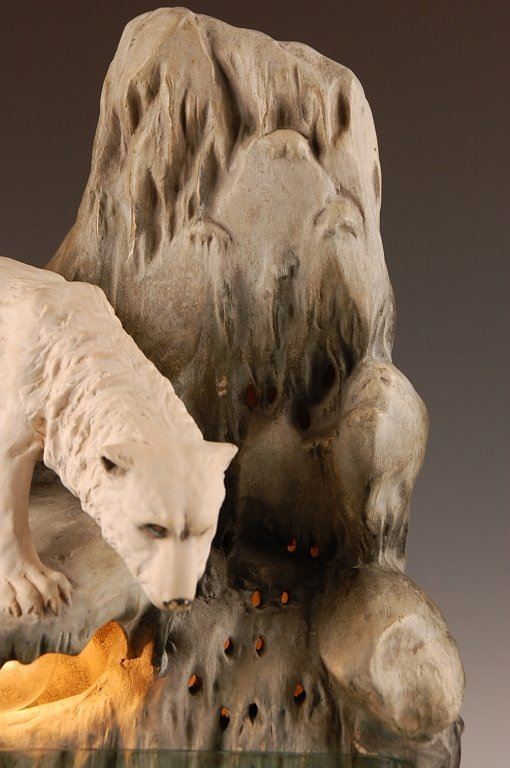 AUGUST OTTO FISH BOWL STAND WITH POLAR BEAR - 3