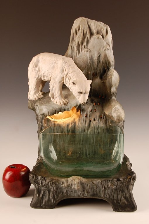 AUGUST OTTO FISH BOWL STAND WITH POLAR BEAR - 5