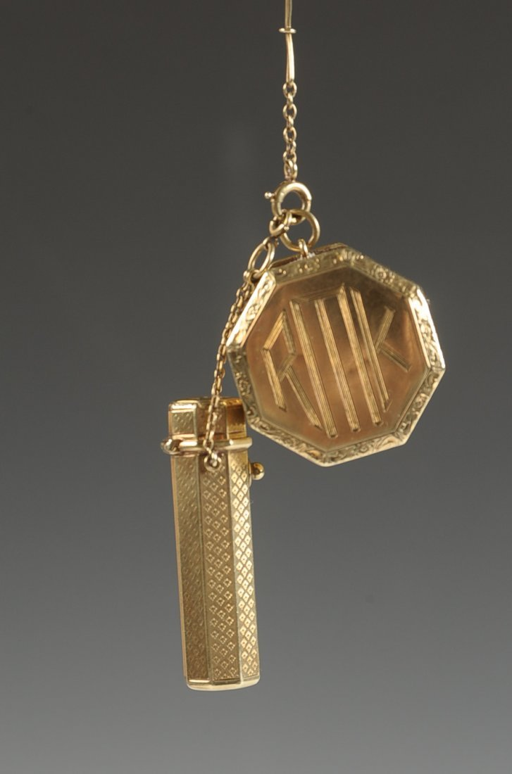 14KT GOLD COMPACT WITH LIPSTICK FOB