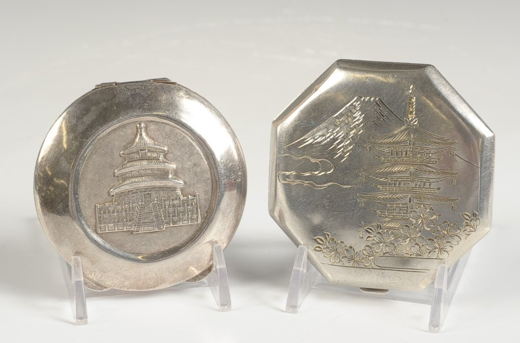 STERLING COMPACTS WITH ASIAN DESIGNS