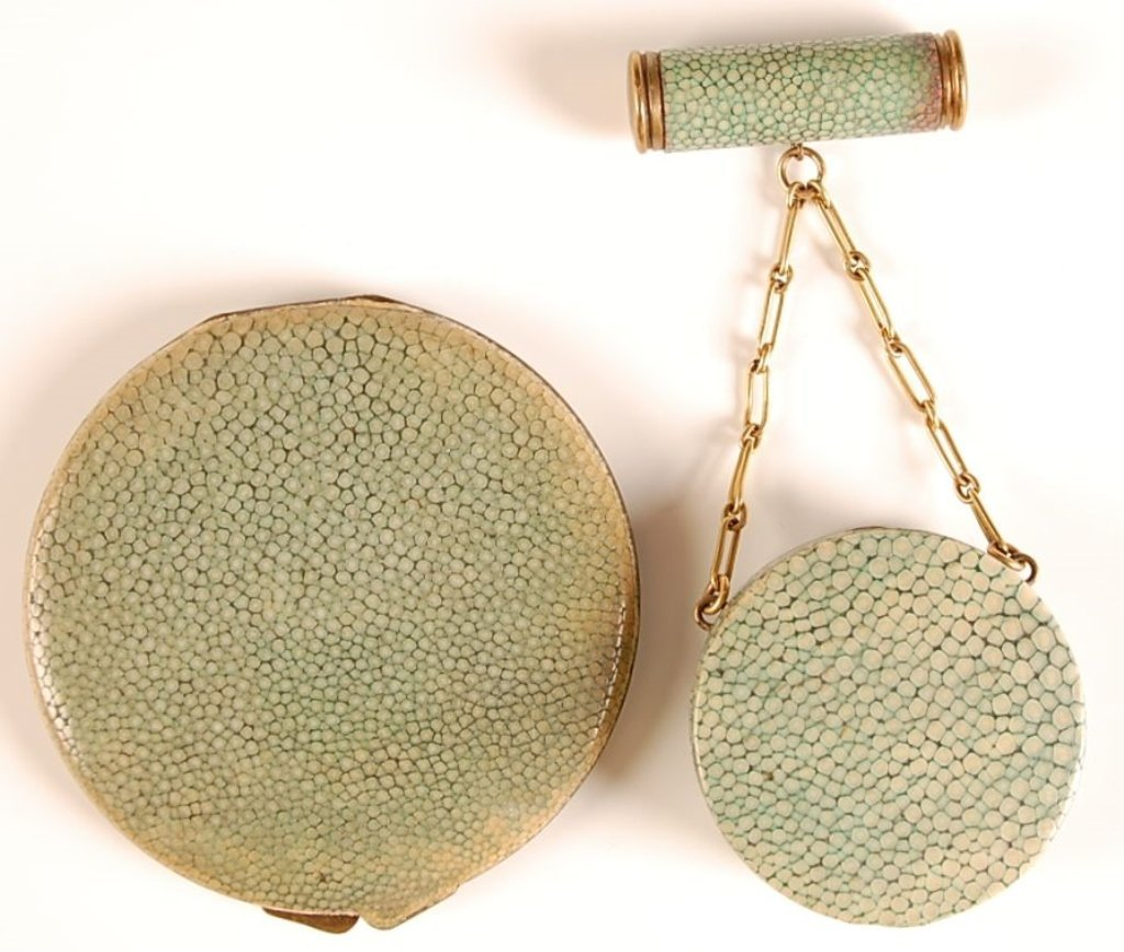 TWO VINTAGE SHAGREEN SHARKSKIN COMPACTS