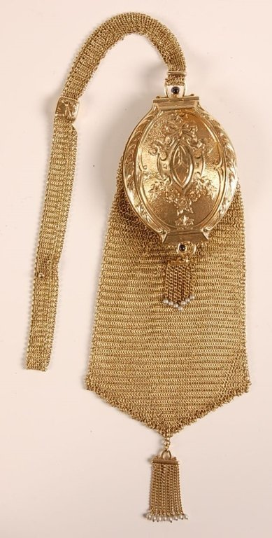 14KT GOLD MESH BAG WITH COMPACT TOP