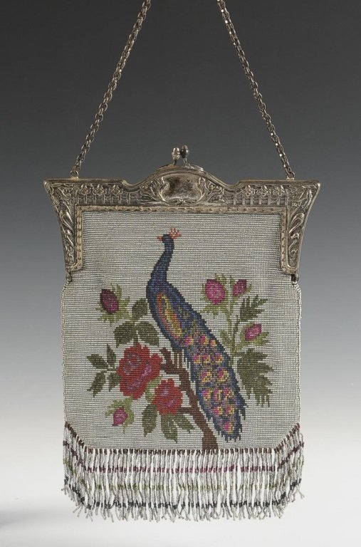 VINTAGE STEEL BEAD KNITTED BAG WITH PEACOCK MOTIF