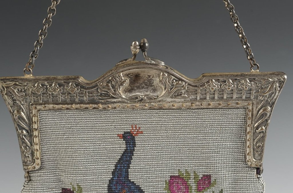 VINTAGE STEEL BEAD KNITTED BAG WITH PEACOCK MOTIF - 2