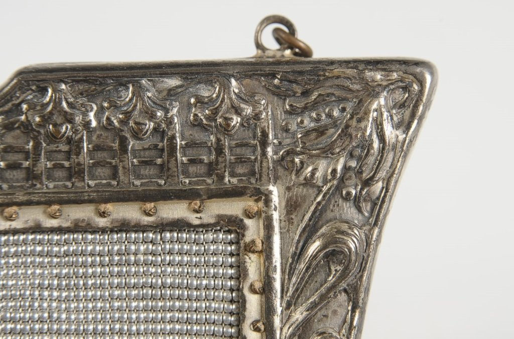 VINTAGE STEEL BEAD KNITTED BAG WITH PEACOCK MOTIF - 7